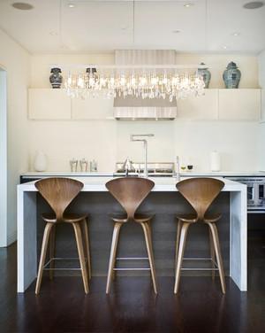 北欧风格简约舒适开放式厨房吧台装修效果图