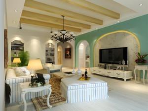 地中海风格恬静客厅电视背景墙装修效果图