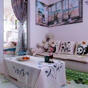 中式田园风格客厅沙发背景墙装修效果图