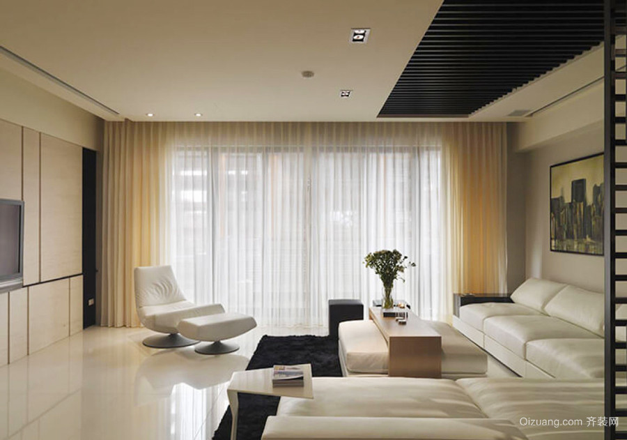 现代简约风格大户型室内客厅窗帘装修效果图