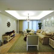 简约美式风格大户型室内客厅吊顶装修效果图