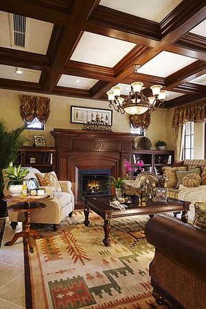 300平米复古美式风格别墅室内装修效果图案例