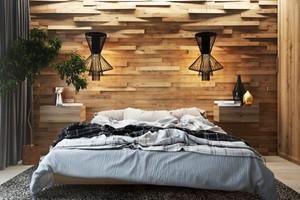 后现代风格精致原木风卧室背景墙装修效果图