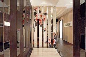 新中式风格大户型室内玄关隔断设计效果图