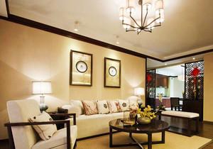 中式风格精致客厅沙发背景墙装修效果图