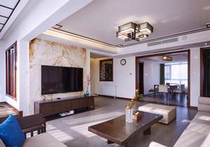 中式风格三居室室内客厅吸顶灯装修效果图