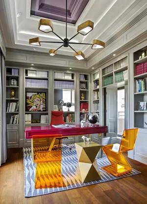 后现代风格大户型室内精致书房设计装修效果图