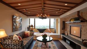东南亚风格大户型室内客厅吊顶设计装修效果图