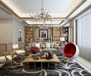 简欧风格大户型室内客厅书房一体装修效果图赏析
