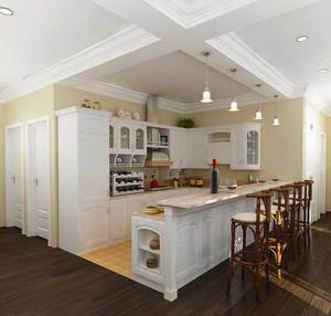 欧式风格大户型室内开放式厨房吧台装修效果图