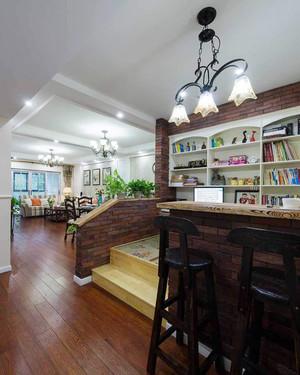 美式风格大户型开放式书房吧台装修效果图