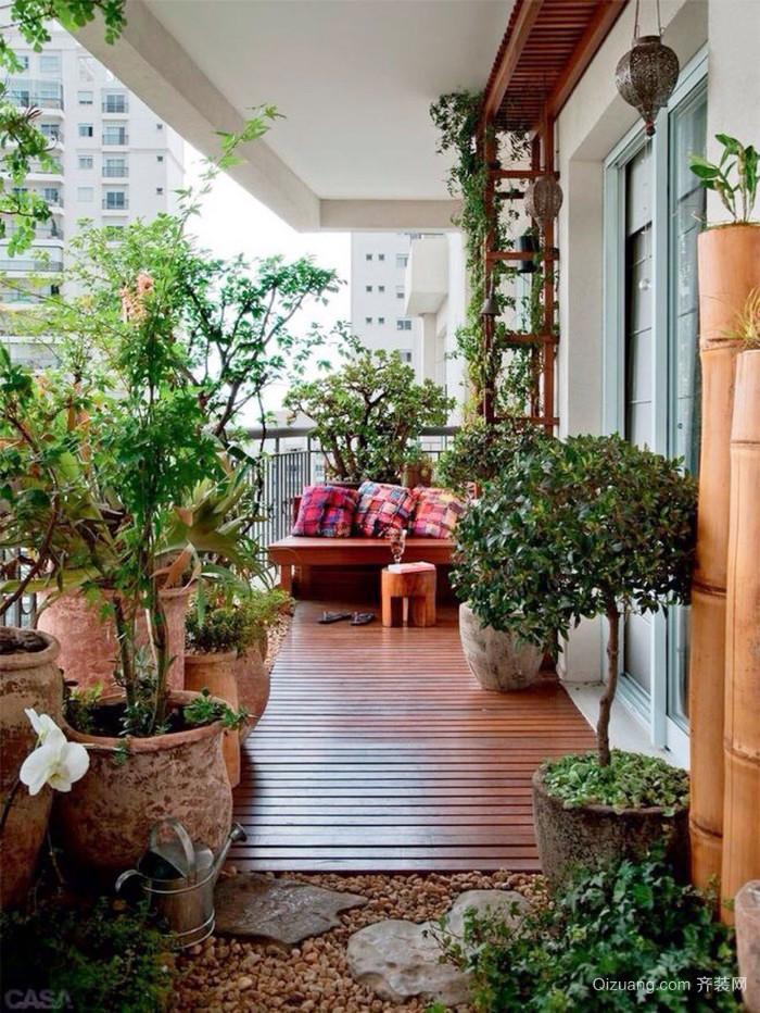 新中式风格大户型阳台花园设计装修效果图