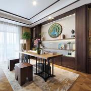 简约中式风格大户型室内书房博古架装修效果图