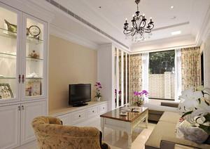 106平米美式田园风格两室两厅室内装修效果图