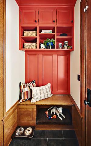 清新文艺美式风格玄关鞋柜设计装修效果图