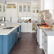 清新美式风格大户型整体厨房装修效果图赏析