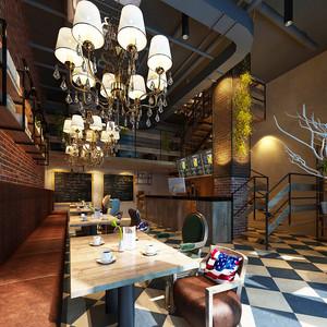 86平米美式混搭风格咖啡厅装修效果图赏析