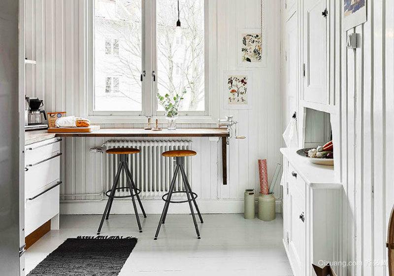 北欧风格简约厨房吧台设计装修效果图