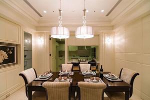现代美式风格大户型餐厅吊灯设计装修效果图