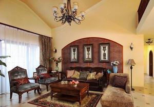 东南亚风格别墅室内客厅沙发背景墙装修效果图