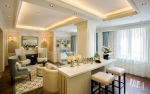欧式风格浅色温馨别墅客厅吧台装修效果图