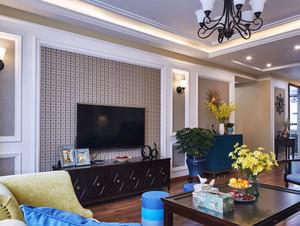 美式风格别墅室内客厅电视背景墙装修效果图赏析