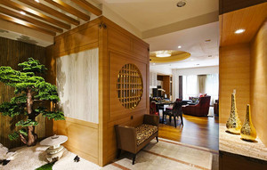 134平米新中式风格三室两厅室内装修效果图