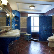 12平米精致地中海风格豪华卫生间装修效果图