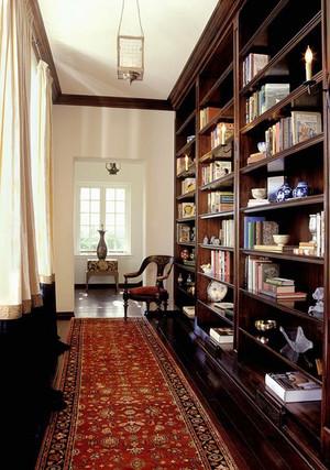 16平米中式风格古典书房博古架装修效果图