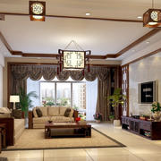 中式风格精致客厅吸顶灯装修效果图赏析