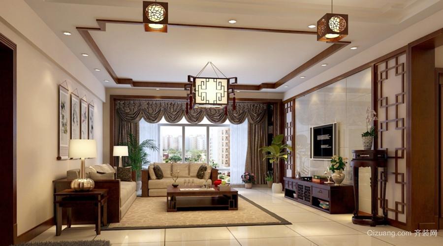 简欧风格大户型室内餐厅圆形吊顶装修效果图