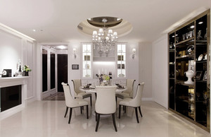 简欧风格精致纯白餐厅吊顶装修效果图赏析