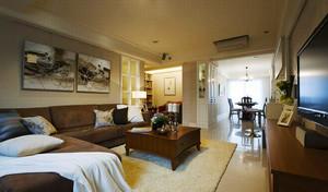 139平米美式乡村风格简装三室两厅室内装修效果图