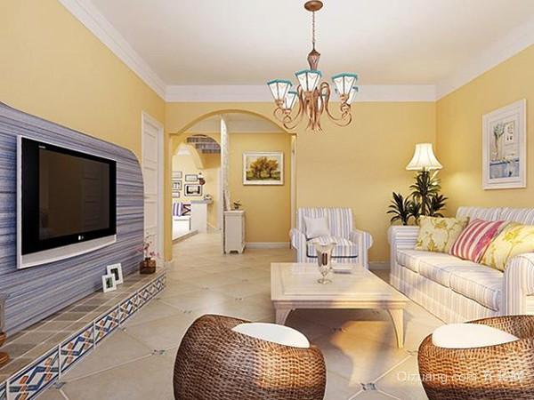 89平米地中海风格两室两厅室内装修效果图案例
