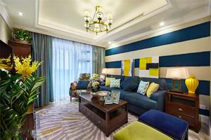 美式混搭风格精装三室两厅室内装修效果图实例