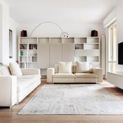 现代风格精致纯白客厅书房一体装修效果图