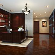 美式风格别墅室内精装书房装修效果图赏析