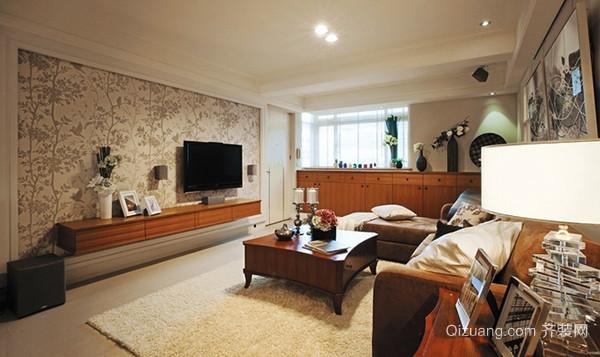 美式田园风格精装三室两厅室内装修效果图案例