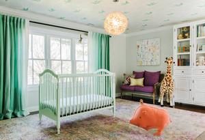 清新美式风格大户型精美婴儿房设计装修效果图