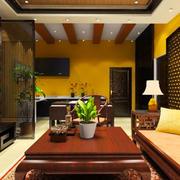 东南亚风格两居室室内客厅隔断设计装修效果图