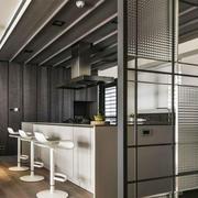 后现代风格大户型室内开放式厨房吧台装修效果图