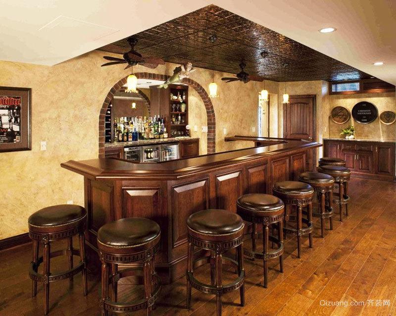 美式乡村风格别墅室内吧台设计装修效果图