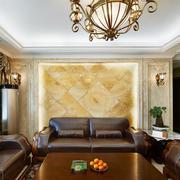 美式风格大户型室内客厅沙发背景墙装修效果图