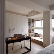 现代美式风格大户型室内书房飘窗设计装修效果图