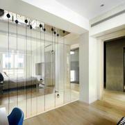 现代简约风格卧室玻璃隔断设计装修效果图