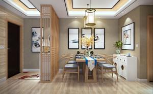 中式风格简约创意餐厅隔断设计装修效果图