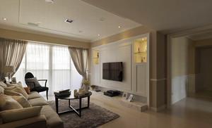 128平米简约美式风格三室两厅室内装修效果图案例