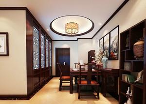 中式风格装修大户型餐厅圆形吊顶装修效果图