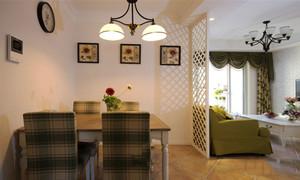 美式田园风格三居室室内餐厅装修效果图