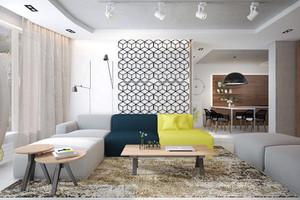 56平米现代简约风格清新单身公寓装修效果图